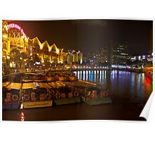 Boats moored to the side at Clarke Quay in Singapore Poster