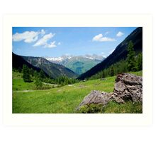 View over the mountain tops Art Print