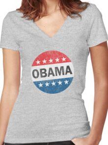Vote Obama 2012 Vintage Button Shirt Women's Fitted V-Neck T-Shirt