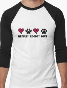 Rescue * Adopt * Love Men's Baseball ¾ T-Shirt