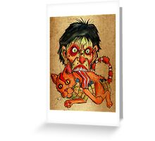 zombie eating bacon cat Greeting Card