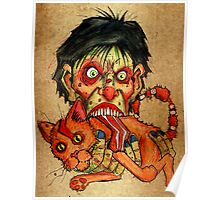 zombie eating bacon cat Poster