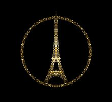 Eiffel Tower gold sparkles peace symbol by PLdesign