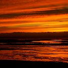 Red (Allonby Beach Cumbria, Sunset) by Lou Wilson