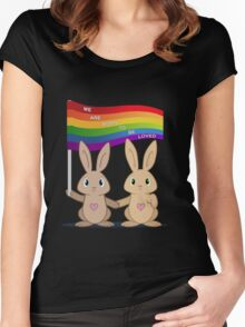 Skip & Pip (aka the Pride Bunnies) Women's Fitted Scoop T-Shirt