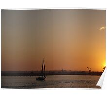 San Diego California Sunset Ocean Sailboat Poster