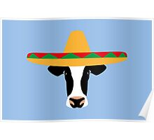 Cow Wearing a Sombrero Poster