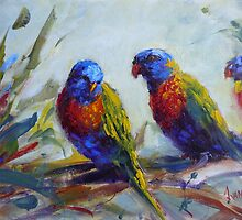 Rainbow lorikeets by Ivana Pinaffo