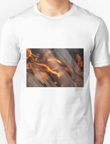 Burning wood branches Unisex T-Shirt
