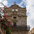 Sunlit Pink Bougainvillea at Santa Lucia alla Badia Church in Syracuse, Sicily by Georgia Mizuleva