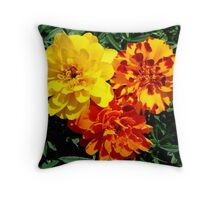 Flowers Marigolds Yellow Orange Rust Throw Pillow