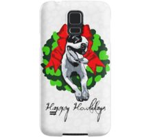 Happy Howlidays and Merry Pitmas - Holiday Christmas Dog - Pit Bull in Wreath Samsung Galaxy Case/Skin
