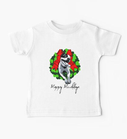 Happy Howlidays and Merry Pitmas - Holiday Christmas Dog - Pit Bull in Wreath Baby Tee