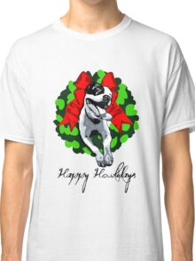 Happy Howlidays and Merry Pitmas - Holiday Christmas Dog - Pit Bull in Wreath Classic T-Shirt