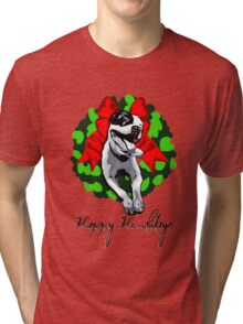 Happy Howlidays and Merry Pitmas - Holiday Christmas Dog - Pit Bull in Wreath Tri-blend T-Shirt
