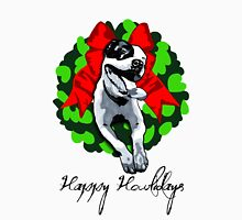 Happy Howlidays and Merry Pitmas - Holiday Christmas Dog - Pit Bull in Wreath Unisex T-Shirt
