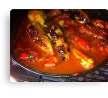 Filled Paprika Vegetables Food Red Eat Canvas Print