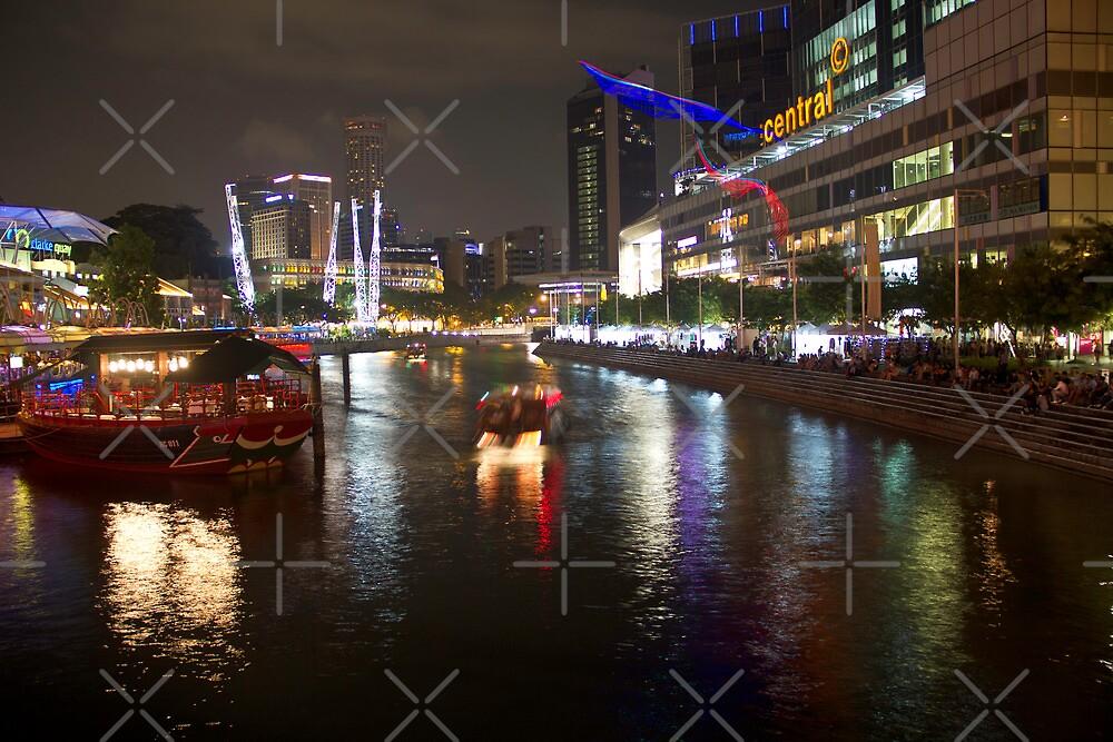 Boat making its way down river at Clarke Quay in Singapore by ashishagarwal74