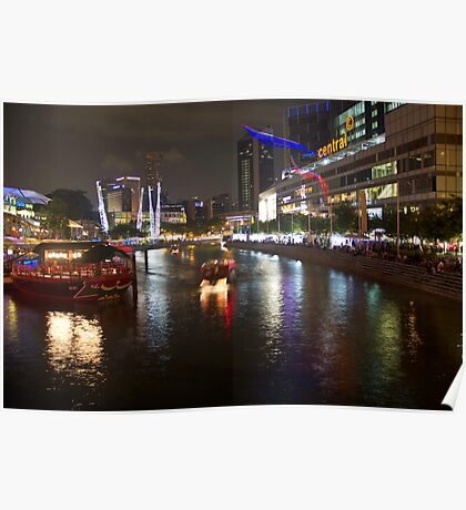 Boat making its way down river at Clarke Quay in Singapore Poster