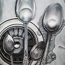 Spoons and Stainless steel realistic painting by LindaAppleArt