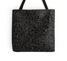 Pride and Prejudice 1st Chapter Handwriting Tote Bag