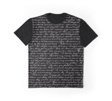 Pride and Prejudice 1st Chapter Handwriting Graphic T-Shirt