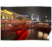 Boats moored on water at Clarke Quay in Singapore  Poster