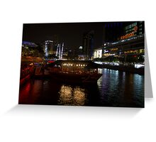 Boats moored at Clarke Quay in Singapore Greeting Card