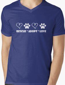 Rescue * Adopt * Love Mens V-Neck T-Shirt