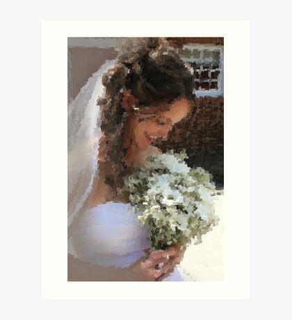 Bride Wedding Flower Bouquet Painting - Clipart 54355 Art Print