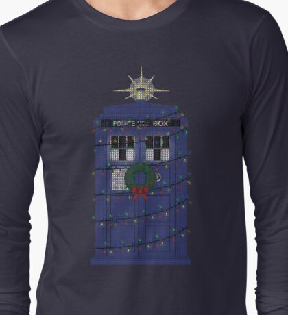 Police Box Christmas Knit Long Sleeve T-Shirt
