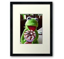 Frog Kermit Eat Ice Hunger Framed Print