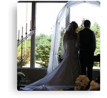 Wedding Bridge Groom Silhouette Canvas Print