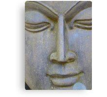 Face Stone Head Sculpture Asia Canvas Print