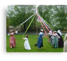 Weaving The Ribbon Of The May Pole Canvas Print