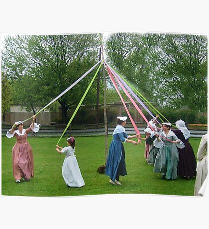 Weaving The Ribbon Of The May Pole Poster