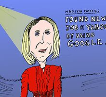 Marissa Mayer caricature from Google to Yahoo! by Binary-Options