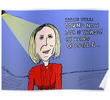Marissa Mayer caricature from Google to Yahoo! Poster