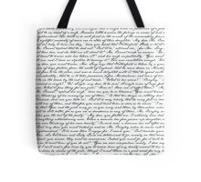 Pride and Prejudice 1st Chapter Handwriting -White Tote Bag