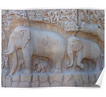 Elephant Relief Descent Of The Ganga Poster