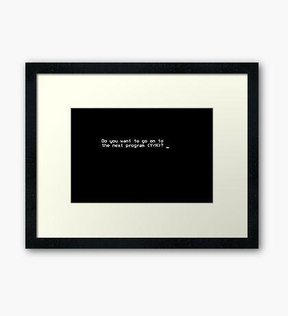 Do you want to go on to the next program (Y/N)? Framed Print