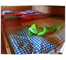 Frog Kermit Tired Sleep Bed Poster