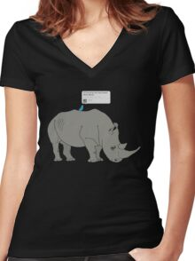 #Rhino #Savanna Women's Fitted V-Neck T-Shirt