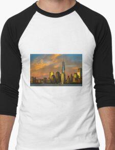 Sunset from Liberty Park Men's Baseball ¾ T-Shirt