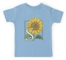 S is for Sunflower - floating Kids Tee
