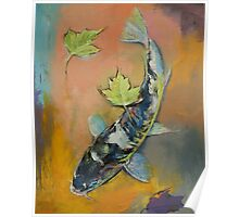 Koi with Japanese Maple Leaves Poster
