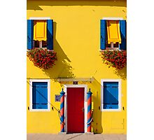 Burano, Venice lagoon - the yellow house Photographic Print
