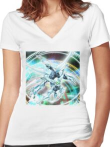 Shooting Quasar Dragon Women's Fitted V-Neck T-Shirt