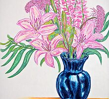 Pink Stargazers in a Blue Vase by Christine Chase Cooper