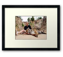 CROUCHING MIKE, LAZY TIGER Framed Print